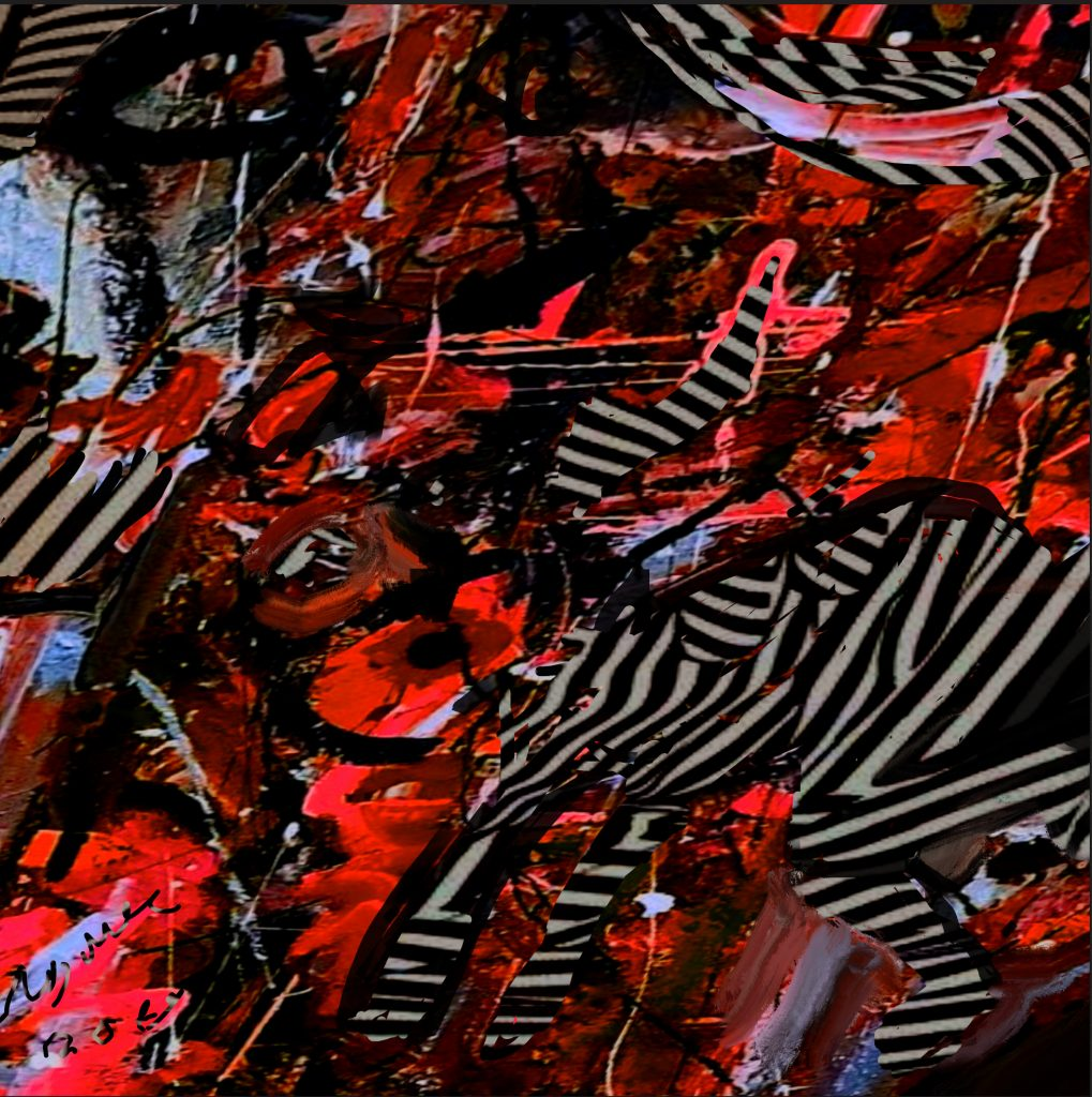 Striped humanoid animal on abstract red background