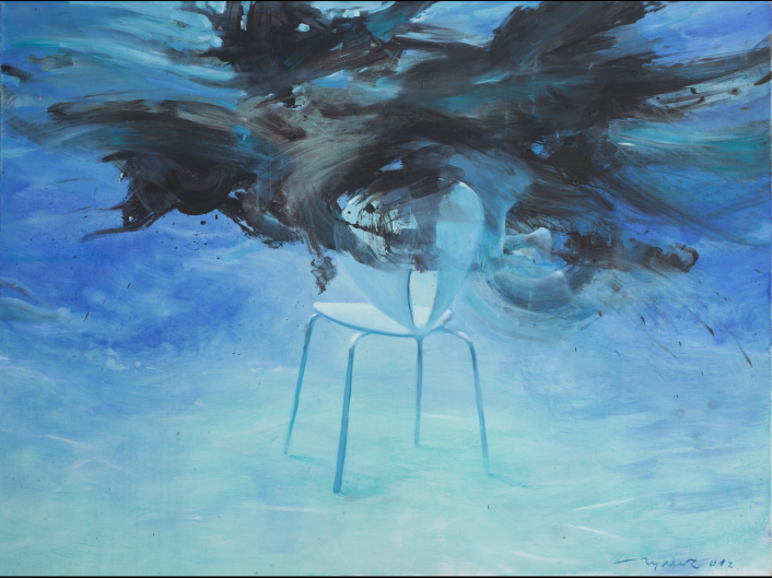 The fight for the place - it's dark shadows, who are fighting for a chair in the clear calm blue water. Painting by Vladimir Gulich, acrylic, canvas.
