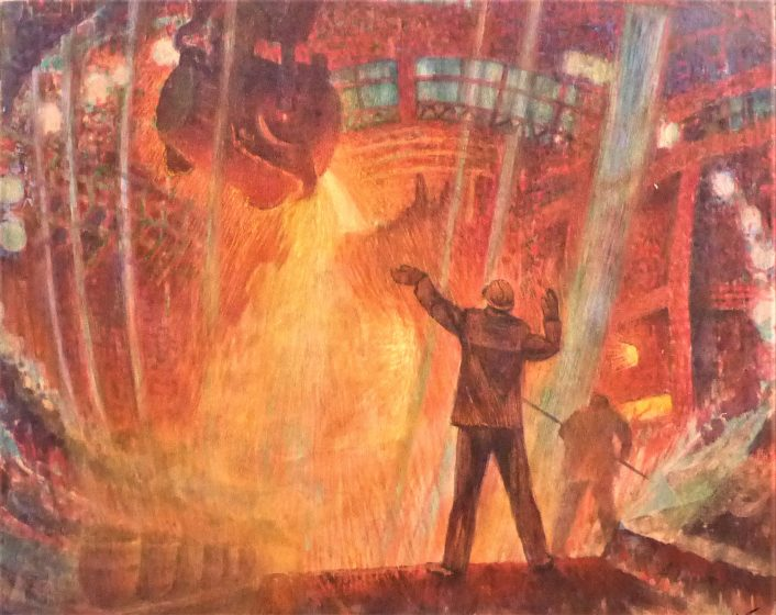 In the old metal melting technology, the worker is important - he melting conductor. Bright watercolor on the transformer paper conveys the proximity of the fire, the heat of the liquid metal.