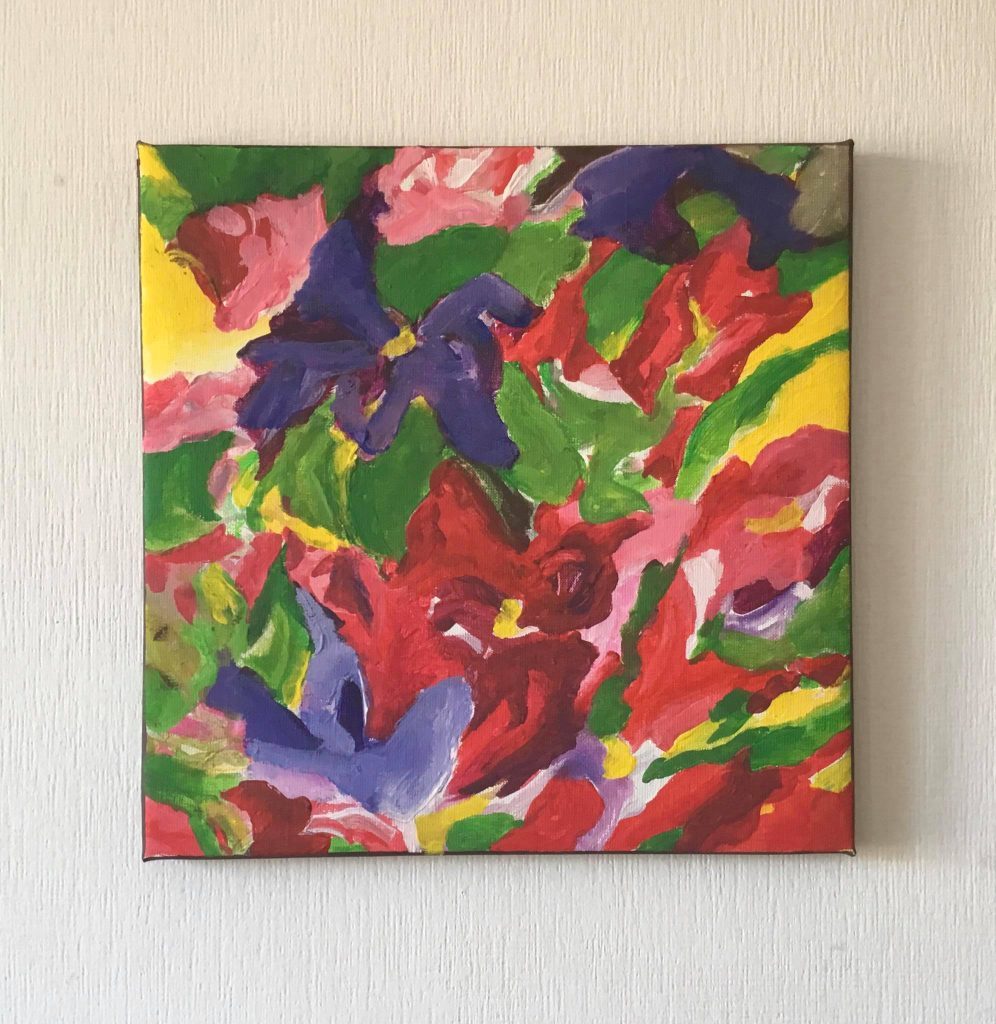 Paints colorfull expression flowers. Gulich Waiting summer 2020 canvas acrylic 40x40