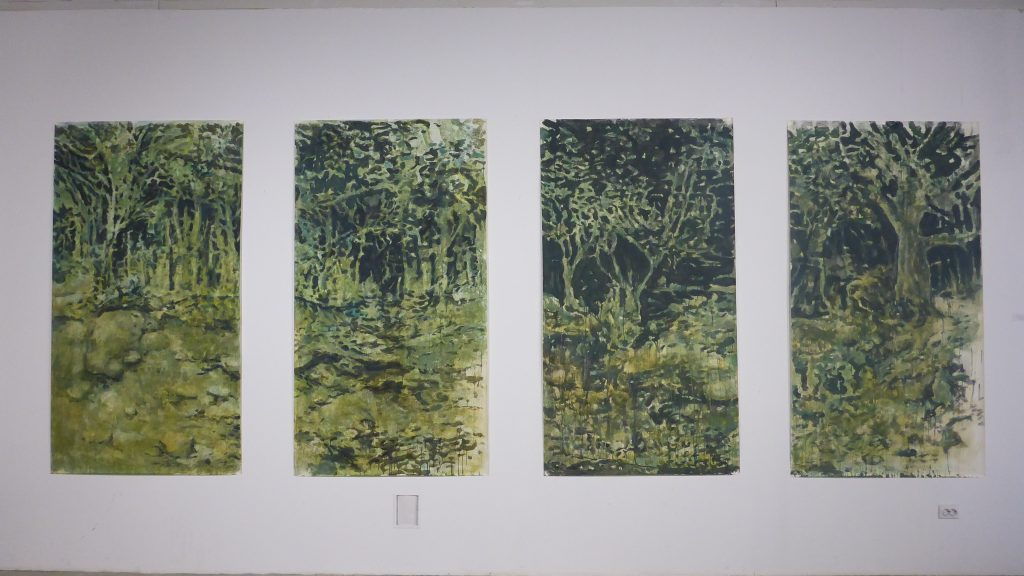 On 4 pieces of paper, 250-120 picturesquely, monochromely depicts a garden at the bottom of the Kakhovka reservoir